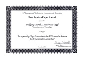 Best Student Paper Award (NMR'12)