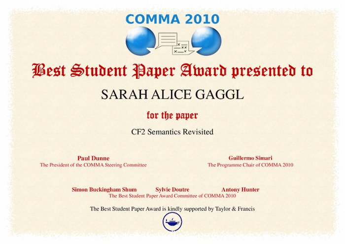 Best Student Paper Award (COMMA 2012)